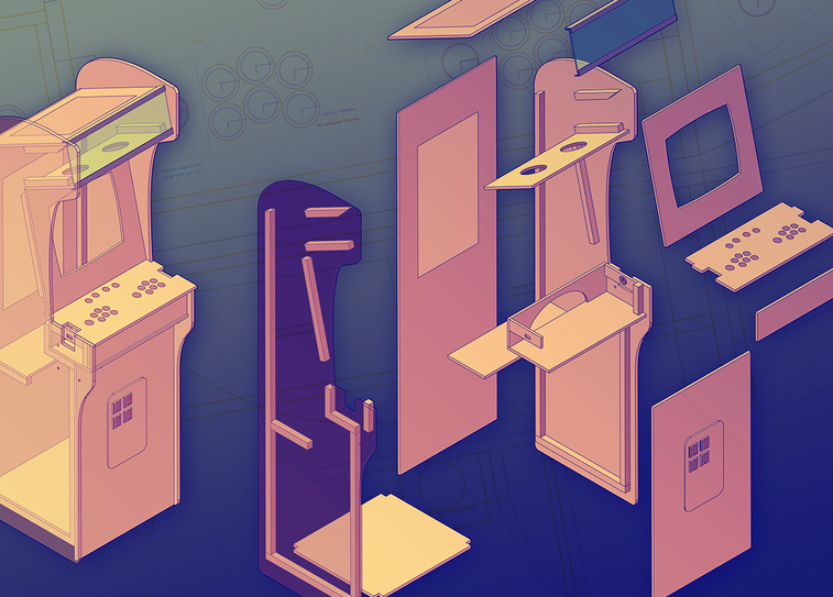 Custom arcade cabinet plans isometric illustartion